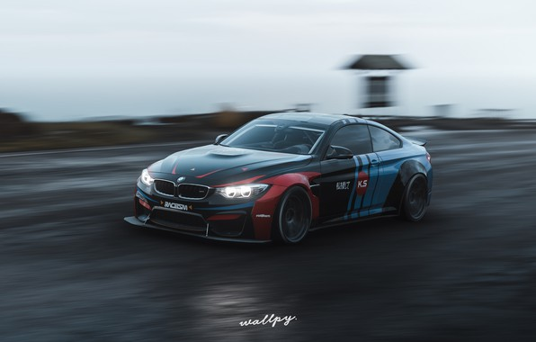 Picture speed, Microsoft, BMW M4, game art, Forza Horizon 4, by Wallpy