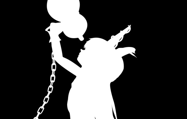 Picture black and white, chain, Horny, project East, touhou project, Ibuki Suika