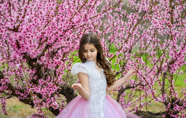 Picture branches, pose, spring, dress, girl, beautiful, flowering