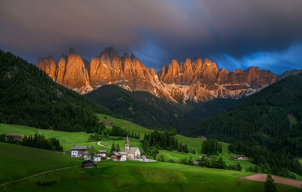Picture landscape, mountains, nature, hills, morning, Italy, Church, village, forest, meadows, the bell tower, The Dolomites, …