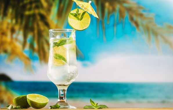 Picture beach, summer, stay, summer, beach, vacation, fruit, drink, mojito, lime, Mojito, vacation, tropical, palm