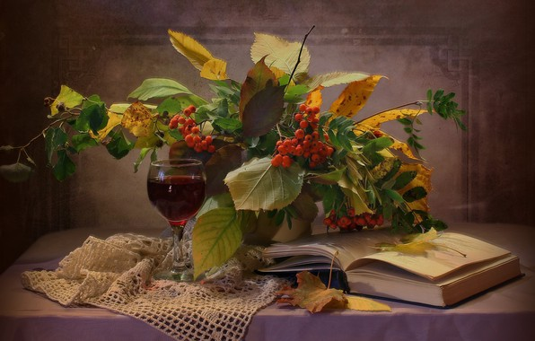 Picture leaves, branches, berries, glass, book, drink, still life, table, Rowan, napkin, Kovaleva Svetlana