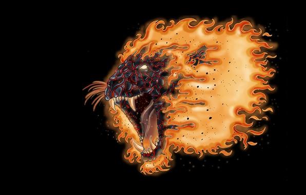 Picture fear, mouth, mane, fangs, grin, black background, lion head, fiery LEO