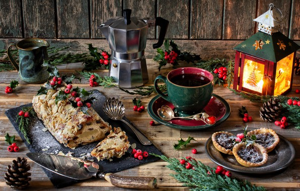 Picture branches, style, berries, coffee, Christmas, mug, lantern, cake, bumps, cakes, treat, Holly, coffee pot, Stollen
