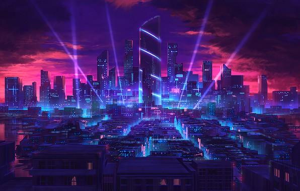 Picture city, the city, future, skyscrapers, neon, future, neon, skyscrapers, fantasy art, light rays, crimson sunset, …