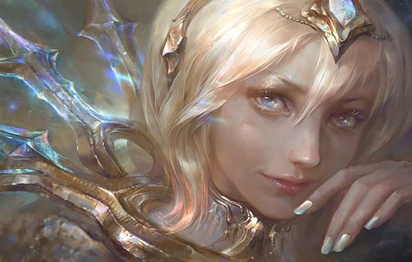 Picture girl, fantasy, blue eyes, face, diamond, blonde, Princess, artwork, fantasy art, close up, tiara, fantasy …