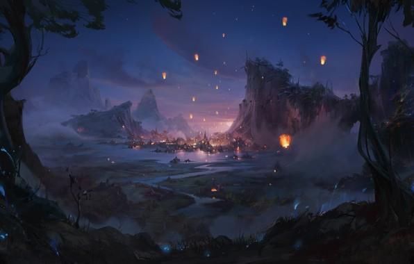 Picture mountains, lights, river, valley, lanterns, harbour, summer night, Marina Krivenko