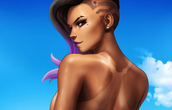 Picture the sky, look, girl, tan, girl, beautiful, Blizzard, sky, beautiful, look, tan, hacker, Overwatch, Sombra, …