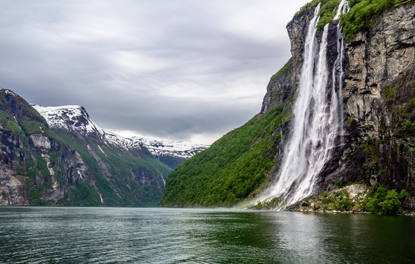Picture Nature, Mountains, Waterfall, Norway, Landscape, Ålesund, Geirangerfjord, The fjord