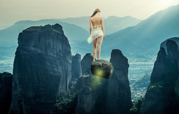 Picture girl, light, flight, landscape, mountains, fog, stones, fiction, open, rocks, feet, stone, back, figure, fantasy, …