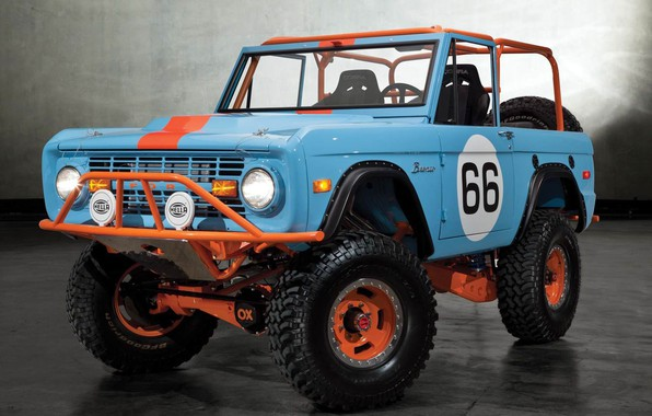 Picture Ford, Orange, Blue, Off Road, Bronco