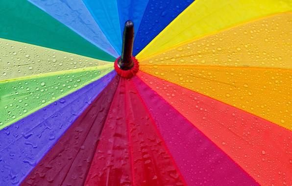 Picture colorful, rainbow, wet, rain, close-up, umbrella, macro, textures, blur, drops, droplets, 5k hd background