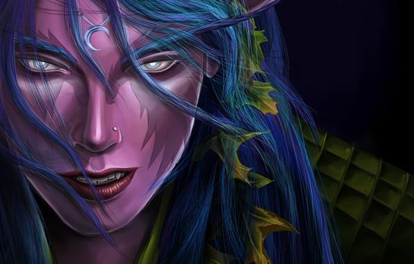 Picture Figure, Lips, Face, Eyes, Blizzard, Elf, Art, Night Elf, World of WarCraft, WarCraft, Illustration, Blizzard …