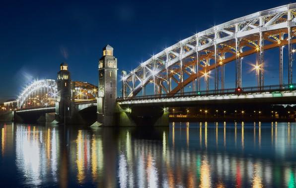 Picture night, bridge, lights, river, Saint Petersburg, Russia, river, bridge, St.Petersburg