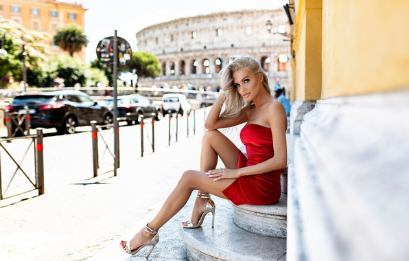 Picture look, girl, pose, feet, Rome, Italy, stage, red dress, Nicholas David Furnari