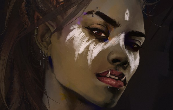 Picture look, girl, face, fantasy, art, fangs, Orc