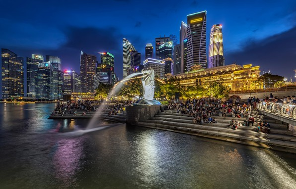 Picture night, lights, people, building, home, lights, ladder, Singapore, fountain, promenade, skyscrapers, Merlion Park