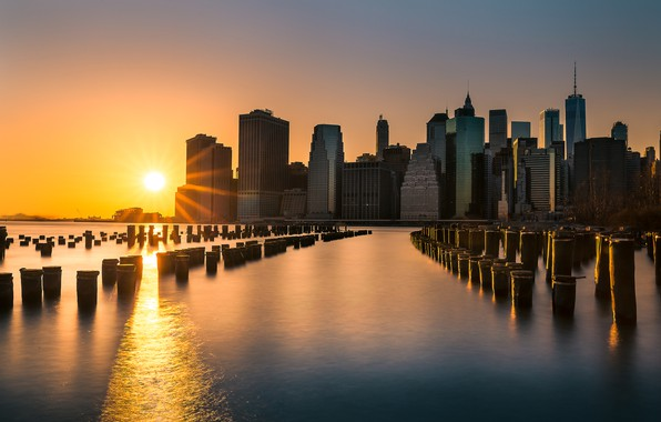 Picture sunset, building, New York, Manhattan, skyscrapers, Manhattan, New York City, East River, East River