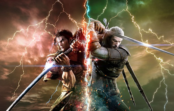 Picture battlefield, sword, game, Soul Calibur, The Witcher, katana, man, fight, ken, wolf, blade, samurai, armour, …