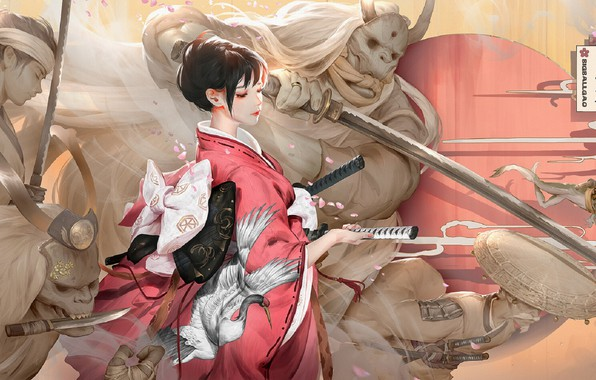 Picture Japan, katana, security, horns, dagger, kimono, ghosts, demons, the hilt of the sword, samurai, sideways, …