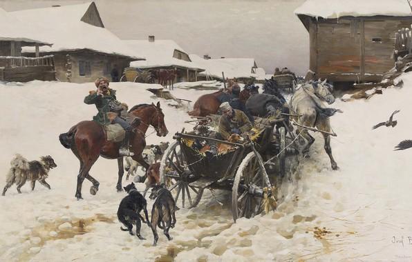 Picture oil on canvas, Polish realist painter, Polish painter, Trip to the hunt, Jozef von Brandt, …