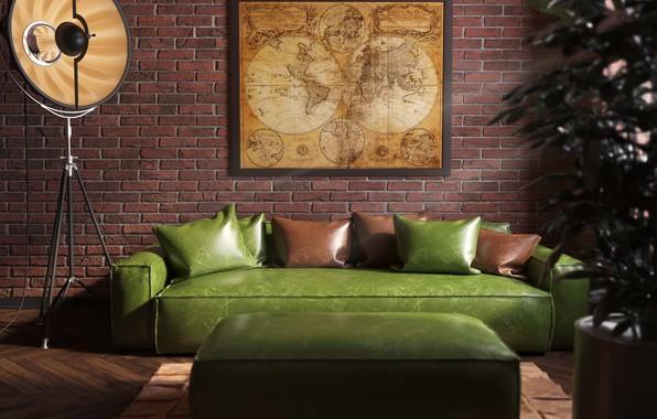 Picture map, brick, office, Interior, brutality, loft, men's