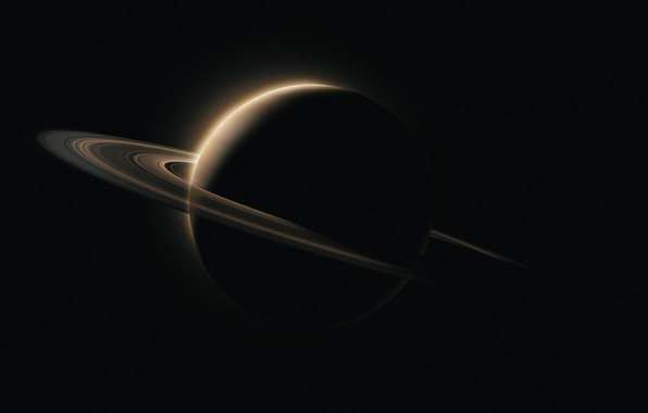 Picture space, Saturn, minimalism, cosmos, planet, black background, rings, simple background