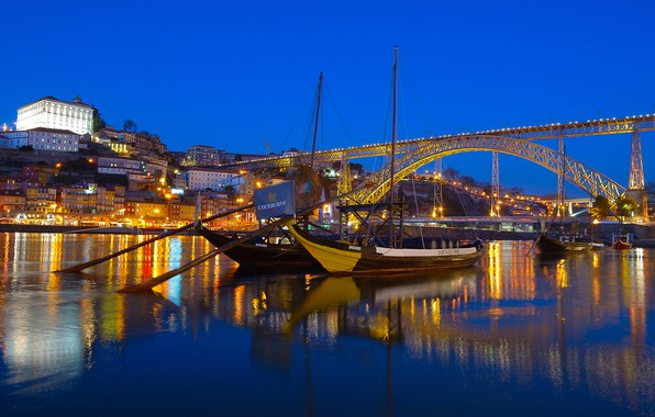 Picture bridge, lights, river, home, boats, the evening, Portugal, court, Port