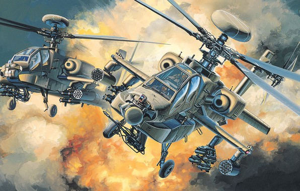 Picture AH-64D, McDonnell Douglas, the main attack helicopter of the US Army, the second major modification …