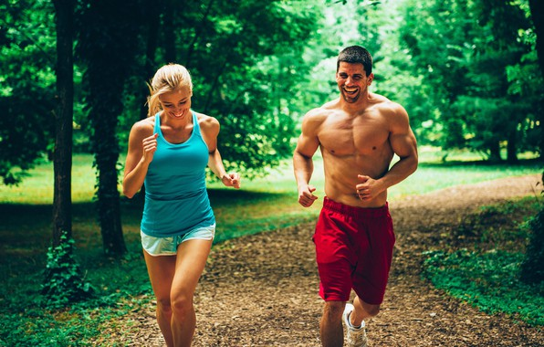 Picture summer, girl, Park, running, guy, athlete, Run, a healthy lifestyle
