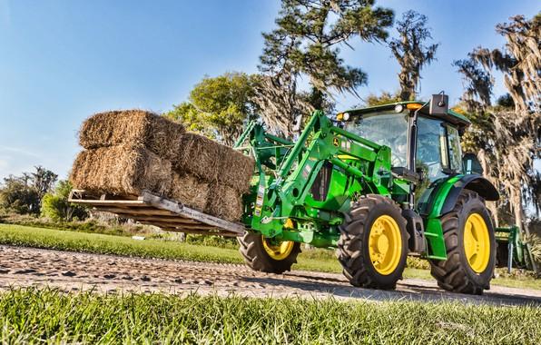 Picture green, street, hay, tractor, cabin, wheel, John Deere, pallet, loader, front loader, John Deere 5100e, …