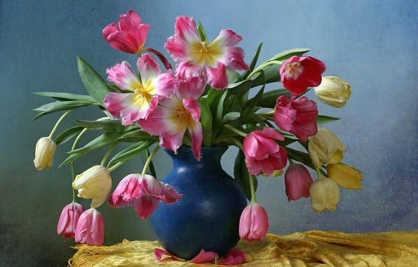 Picture background, bouquet, tulips, vase
