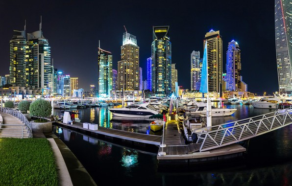 Picture night, the city, skyscraper, panorama, Dubai, Dubai, Panorama