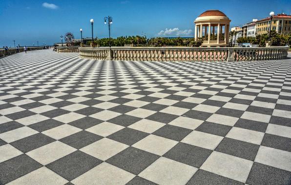 Picture lights, Italy, rotunda, Italy, terrace, tiles, Tuscany, Livorno, Livorno, Tuscany, The Terrazza Mascagni