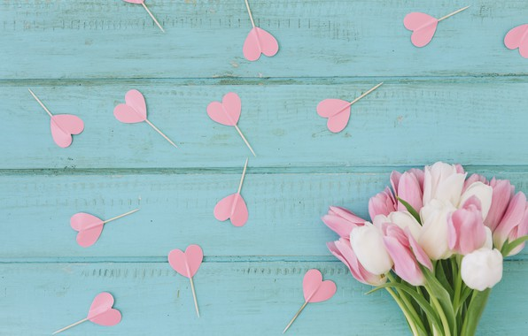 Picture background, blue, bouquet, hearts, tulips, wood