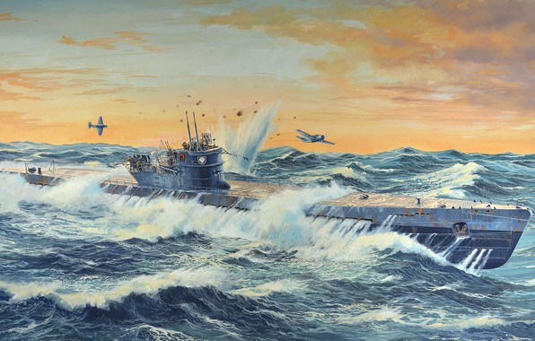 Picture Germany, diesel, U-505, submarine type IX-C, big ocean German