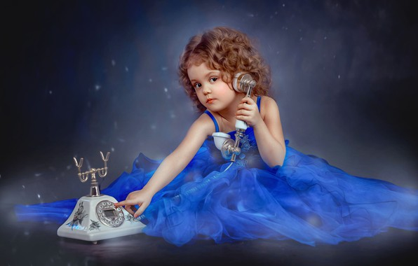 Picture look, dress, girl, outfit, phone, curls, child