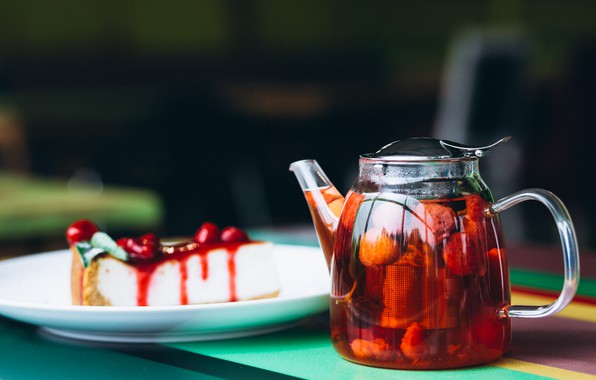 Picture berries, tea, plate, pie, teapot, casserole