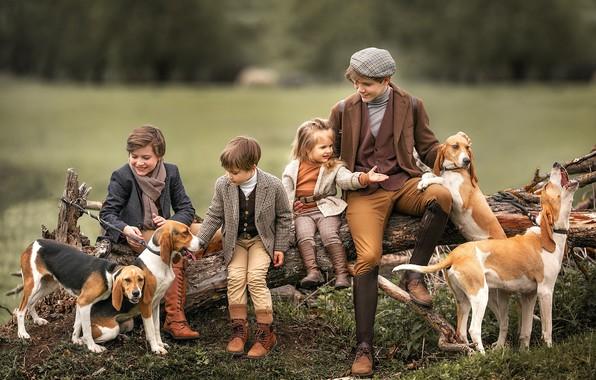 Picture dogs, children, girl, log, boys, Anastasia Barmina
