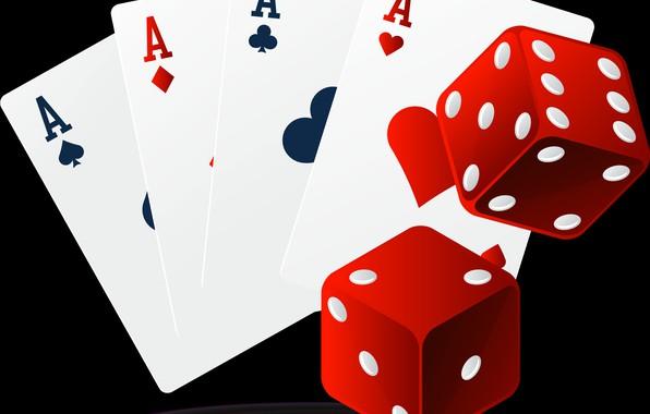 Picture card, cubes, 4 aces