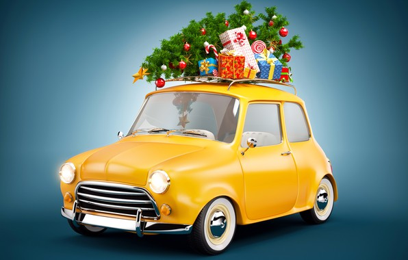 Picture photo, New year, Tree, Gifts, Car