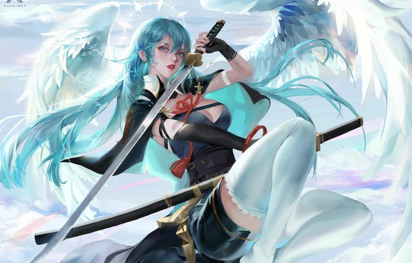 Picture katana, corset, Cape, blue hair, halo, blade, angel, sheath, white wings, by Star Academy