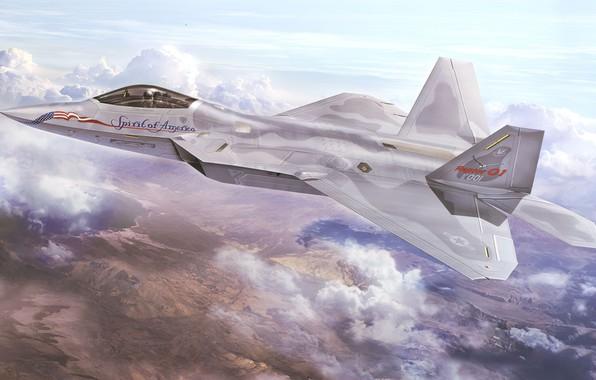 Picture art, airplane, aviation, jet, f-22 raptor