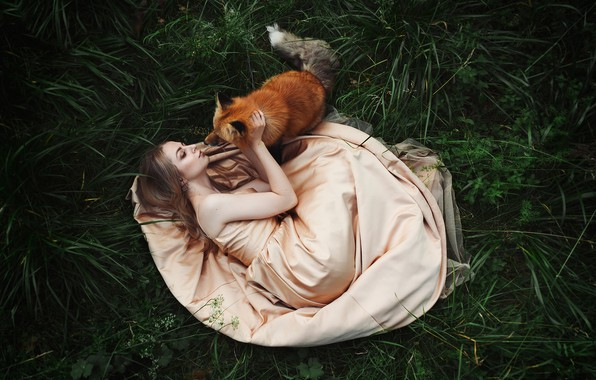 Picture grass, girl, pose, mood, dress, friendship, Fox, red, friends, Karina, Zlobin Awesome, Valery Zlobin