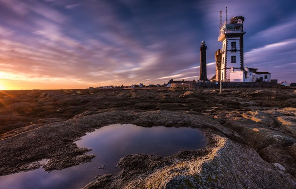 Picture sea, clouds, light, sunset, stones, coast, France, lighthouse, rocky shore, Brittany, sunset sky