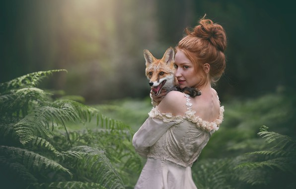 Picture girl, Fox, red, fern
