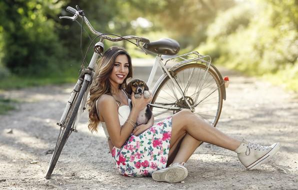 Picture girl, bike, smile, puppy, beauty, Alessandro Di Cicco