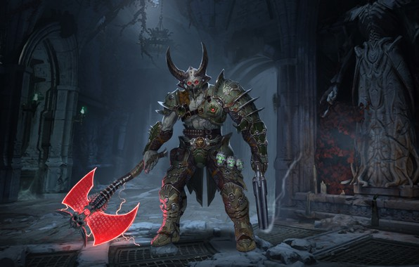 Picture the demon, horns, axe, Marauder, doom eternal
