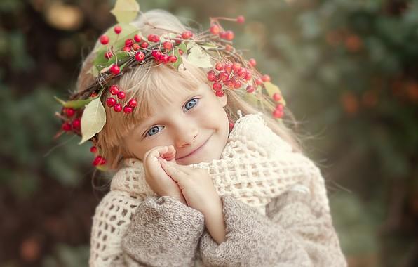 Picture branches, smile, berries, portrait, blonde, girl, jacket, wreath, child, Yulia Tkachenko