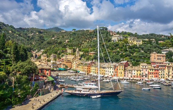Picture building, home, yacht, port, Italy, boats, promenade, Italy, harbour, Portofino, Portofino, Liguria, Liguria, Marina di …